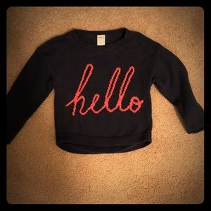 "Navy blue sweater - ""hello"" 👋🏻"